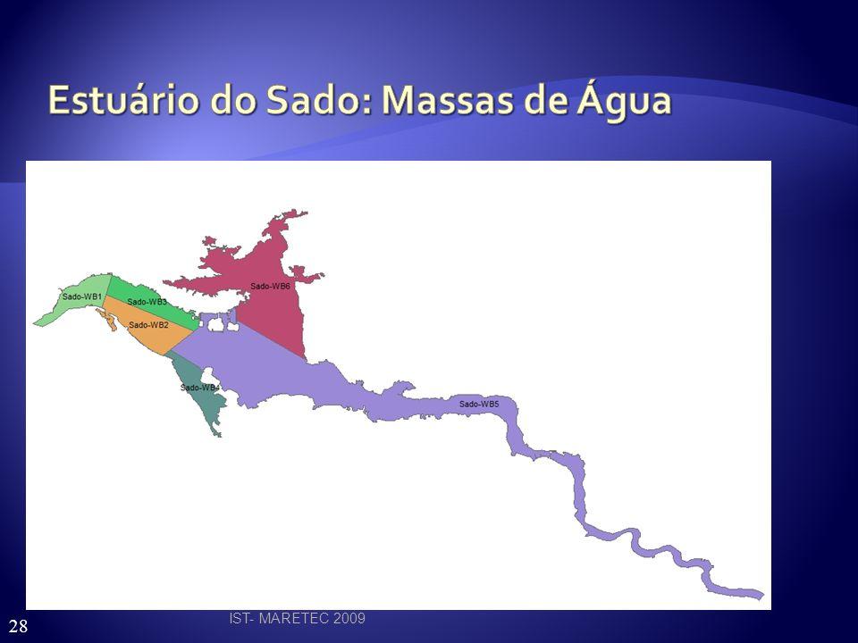IST- MARETEC 2009 RH6 Tipologia A2 Estuário mesotidal homogéneo com descargas irregulares de rio Estuário do Sado 6 massas de água Estuário do Mira 3 massas de água 8
