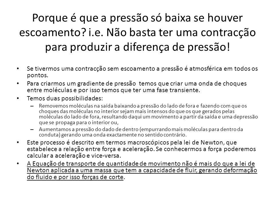 Porque é que a pressão só baixa se houver escoamento? i.e. Não basta ter uma contracção para produzir a diferença de pressão! Se tivermos uma contracç