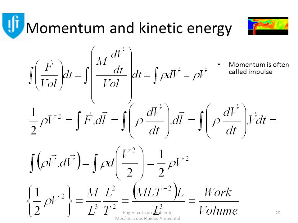 Engenharia do Ambiente Mecânica dos Fluidos Ambiental Momentum and kinetic energy Momentum is often called impulse 20