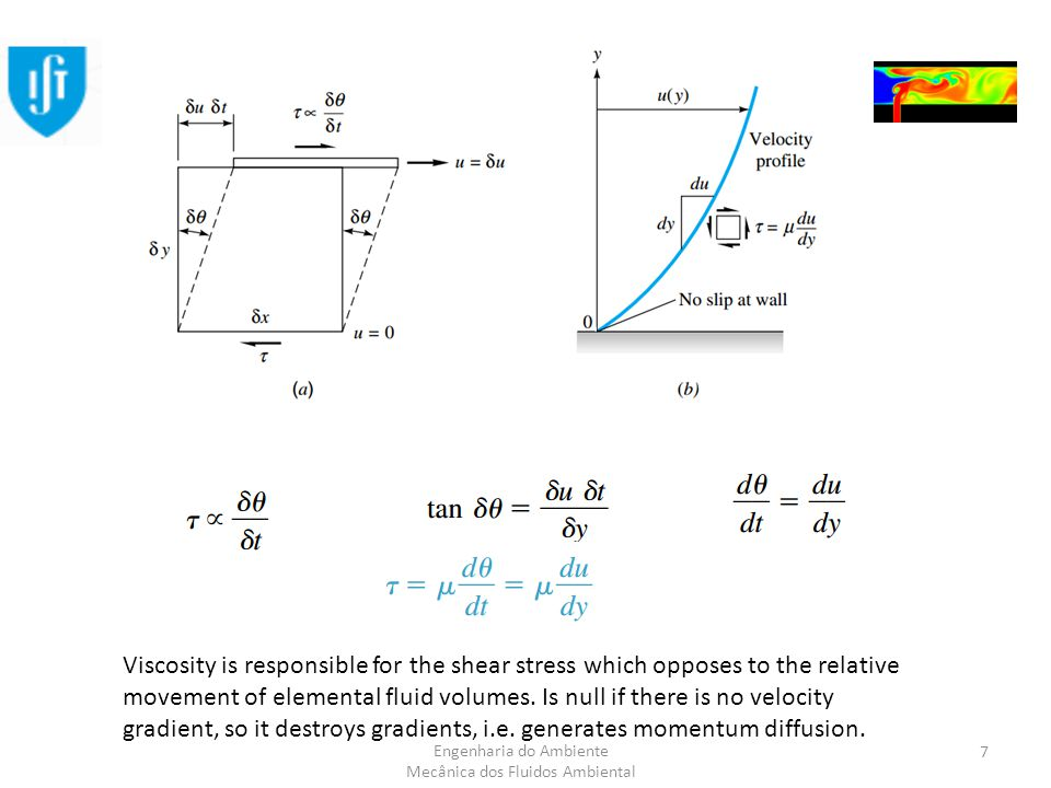 Engenharia do Ambiente Mecânica dos Fluidos Ambiental Viscosity is responsible for the shear stress which opposes to the relative movement of elemental fluid volumes.