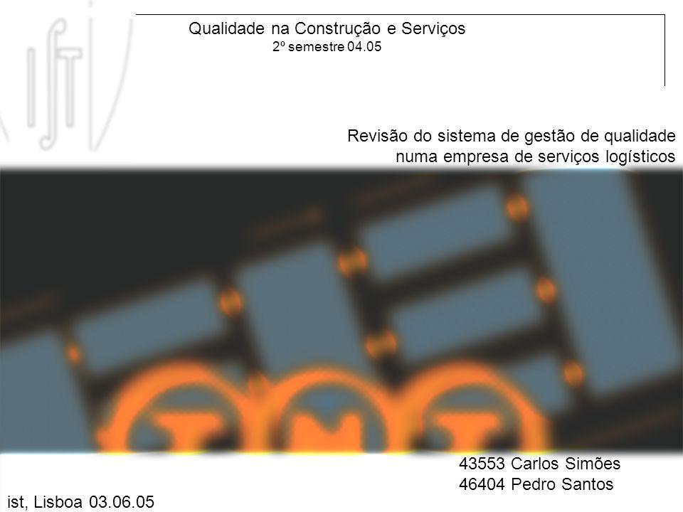 09.06.05 QCS 04.05 Revisão do sistema de gestão de qualidade numa empresa de serviços logísticos Qualidade na Construção e Serviços 2º semestre 04.05