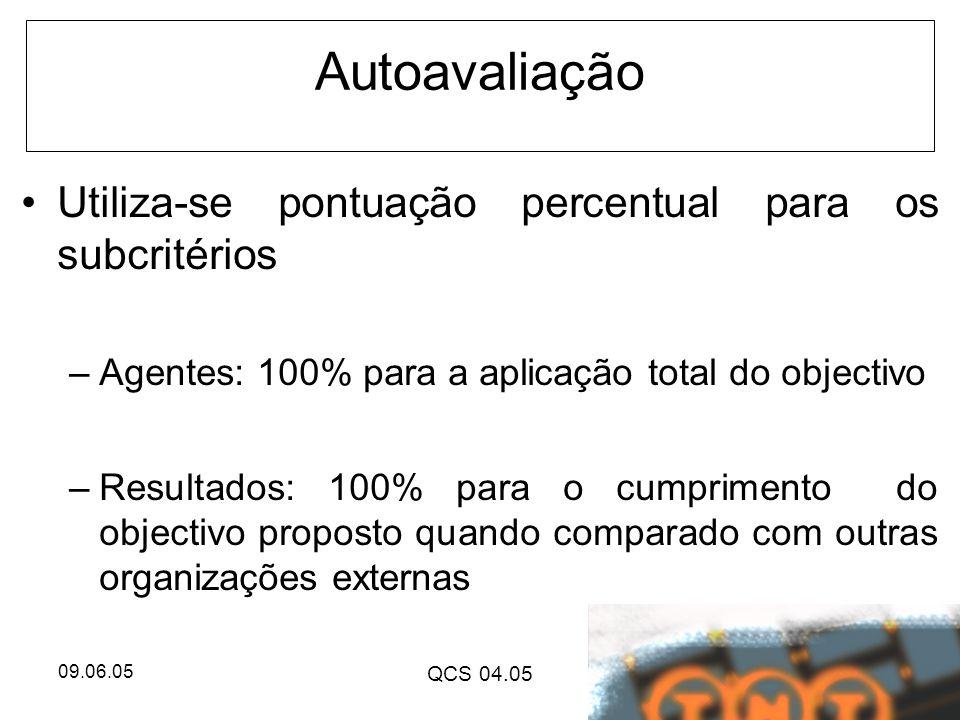 09.06.05 QCS 04.05 Autoavaliação Utiliza-se pontuação percentual para os subcritérios –Agentes: 100% para a aplicação total do objectivo –Resultados: