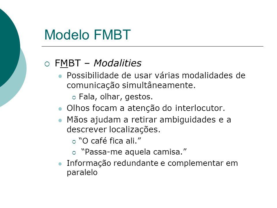 Modelo FMBT FMBT – Modalities Possibilidade de usar várias modalidades de comunicação simultâneamente.
