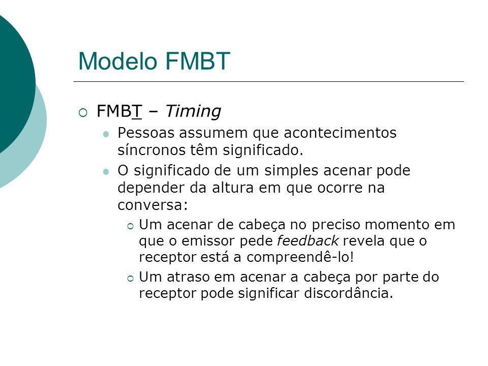 Modelo FMBT FMBT – Timing Pessoas assumem que acontecimentos síncronos têm significado.