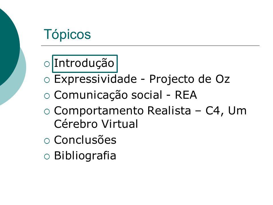 Tópicos Introdução Expressividade - Projecto de Oz Comunicação social - REA Comportamento Realista – C4, Um Cérebro Virtual Conclusões Bibliografia