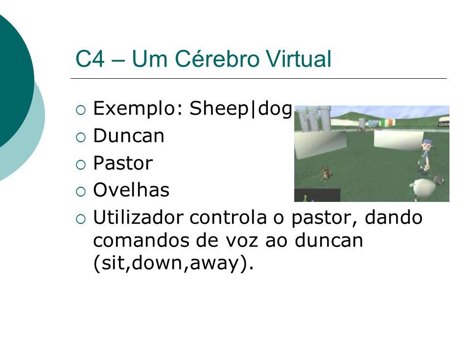 C4 – Um Cérebro Virtual Exemplo: Sheep|dog Duncan Pastor Ovelhas Utilizador controla o pastor, dando comandos de voz ao duncan (sit,down,away).