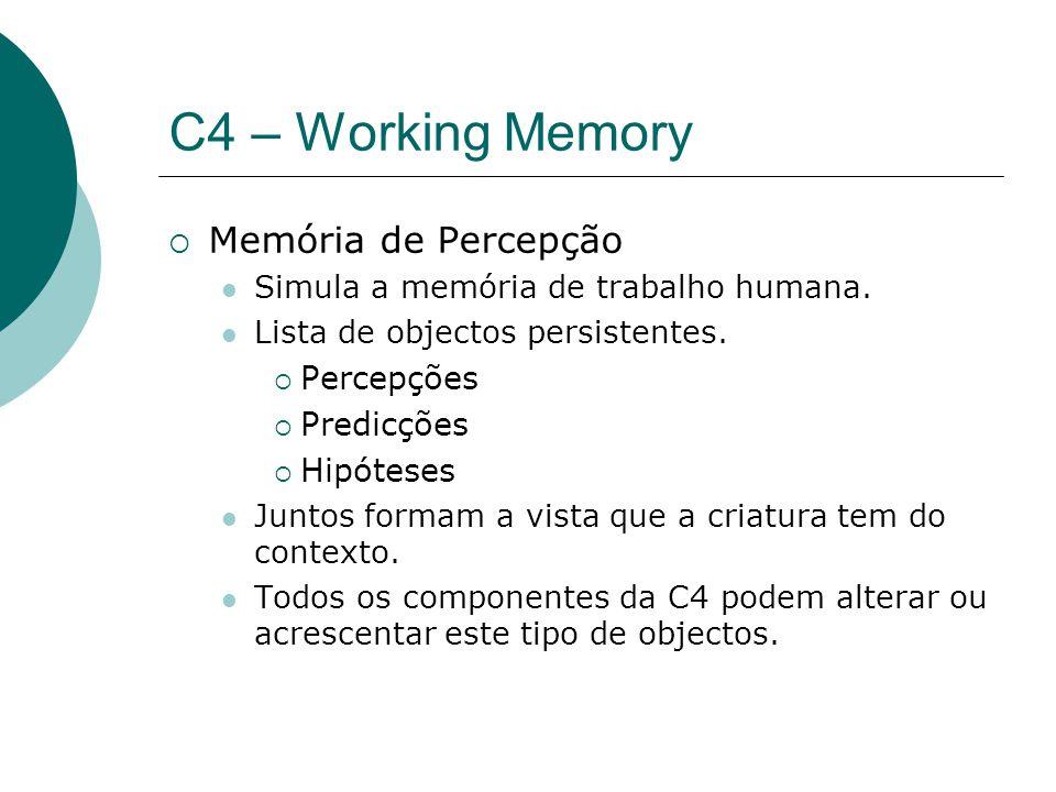 C4 – Working Memory Memória de Percepção Simula a memória de trabalho humana.