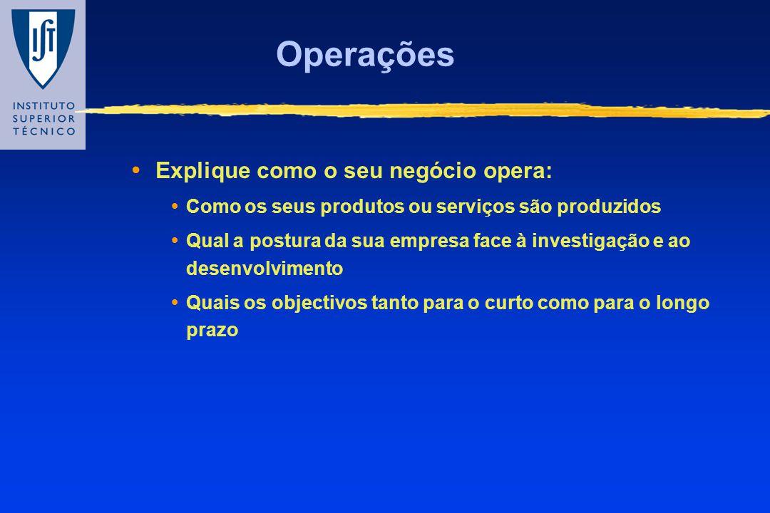 Operações Explique como o seu negócio opera: Como os seus produtos ou serviços são produzidos Qual a postura da sua empresa face à investigação e ao d