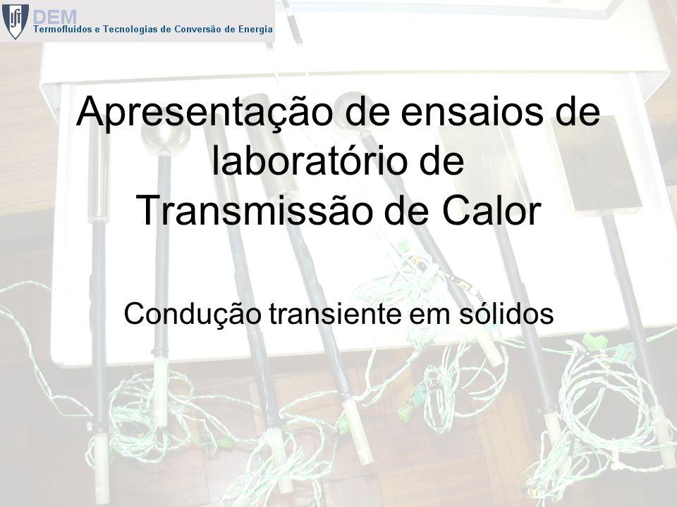 Apresentação de ensaios de laboratório de Transmissão de Calor Condução transiente em sólidos