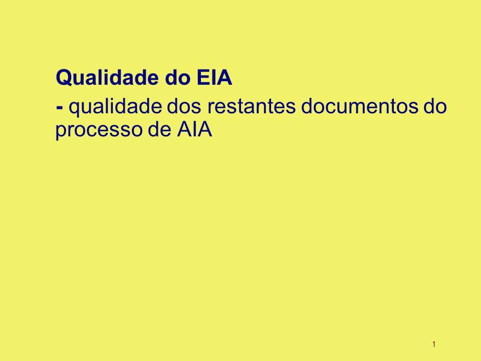 1 Qualidade do EIA - qualidade dos restantes documentos do processo de AIA