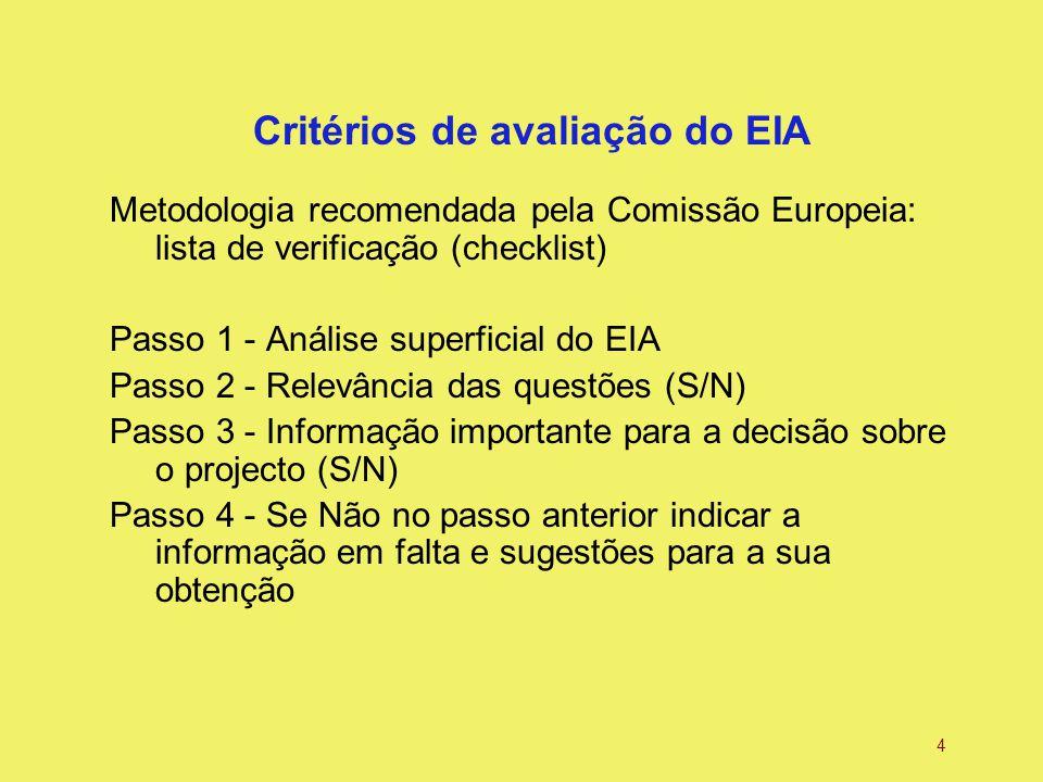 4 Critérios de avaliação do EIA Metodologia recomendada pela Comissão Europeia: lista de verificação (checklist) Passo 1 - Análise superficial do EIA Passo 2 - Relevância das questões (S/N) Passo 3 - Informação importante para a decisão sobre o projecto (S/N) Passo 4 - Se Não no passo anterior indicar a informação em falta e sugestões para a sua obtenção