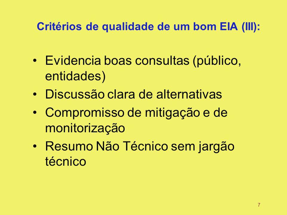 7 Critérios de qualidade de um bom EIA (III): Evidencia boas consultas (público, entidades) Discussão clara de alternativas Compromisso de mitigação e de monitorização Resumo Não Técnico sem jargão técnico