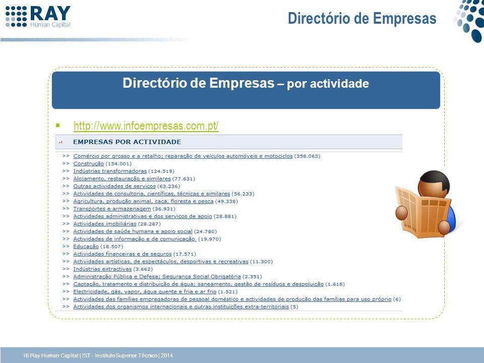 http://www.infoempresas.com.pt/ Directório de Empresas Directório de Empresas – por actividade 16 Ray Human Capital | IST - Instituto Superior Técnico