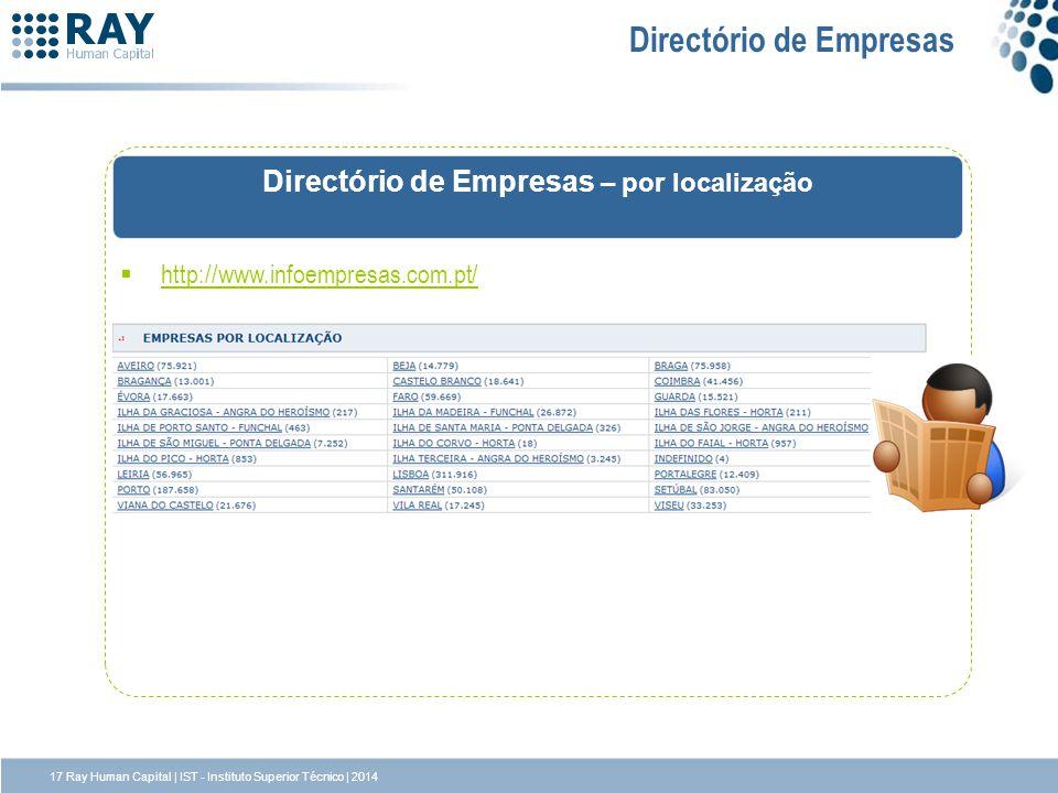 http://www.infoempresas.com.pt/ Directório de Empresas Directório de Empresas – por localização 17 Ray Human Capital | IST - Instituto Superior Técnic