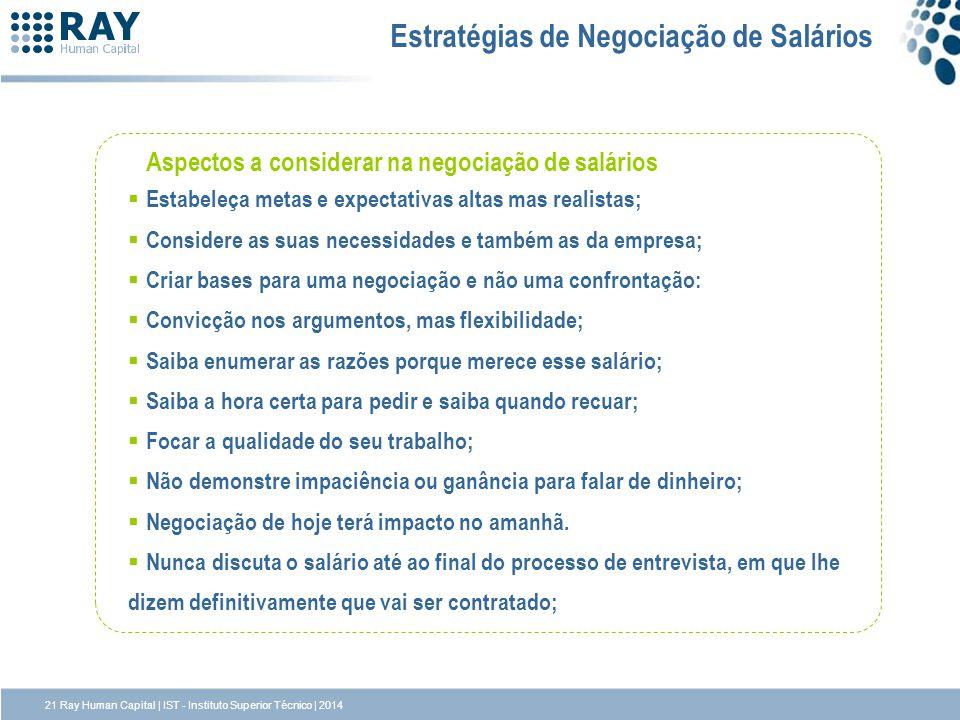 Estratégias de Negociação de Salários Aspectos a considerar na negociação de salários Estabeleça metas e expectativas altas mas realistas; Considere a