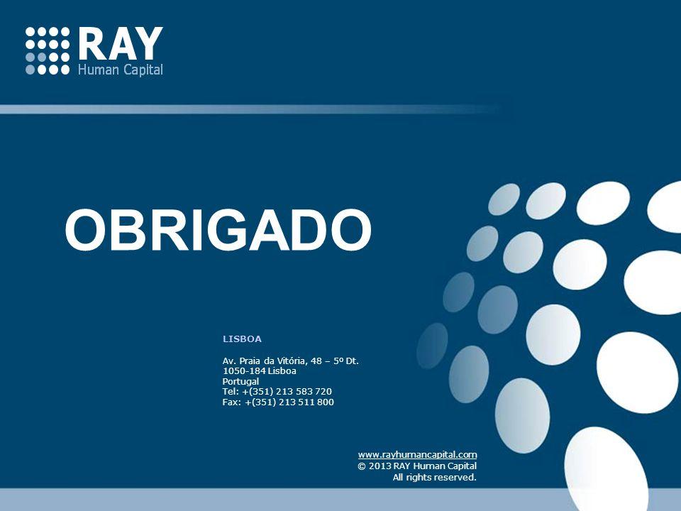 LISBOA Av. Praia da Vitória, 48 – 5º Dt. 1050-184 Lisboa Portugal Tel: +(351) 213 583 720 Fax: +(351) 213 511 800 www.rayhumancapital.com © 2013 RAY H
