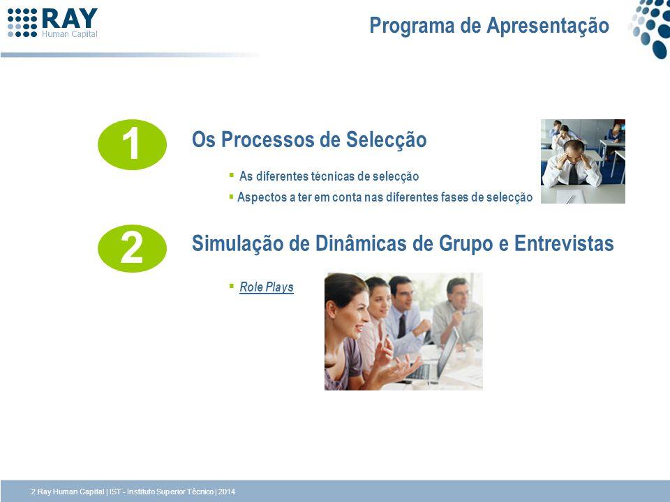 2 Ray Human Capital | IST - Instituto Superior Técnico | 2014 Programa de Apresentação 1 Os Processos de Selecção As diferentes técnicas de selecção A
