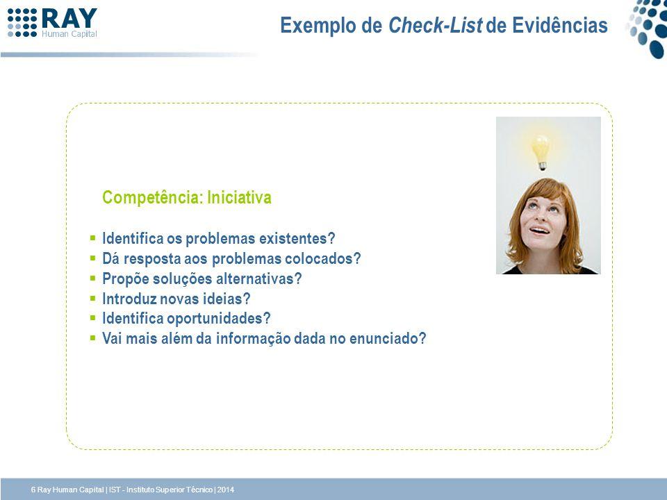 Exemplo de Check-List de Evidências Competência: Iniciativa Identifica os problemas existentes? Dá resposta aos problemas colocados? Propõe soluções a