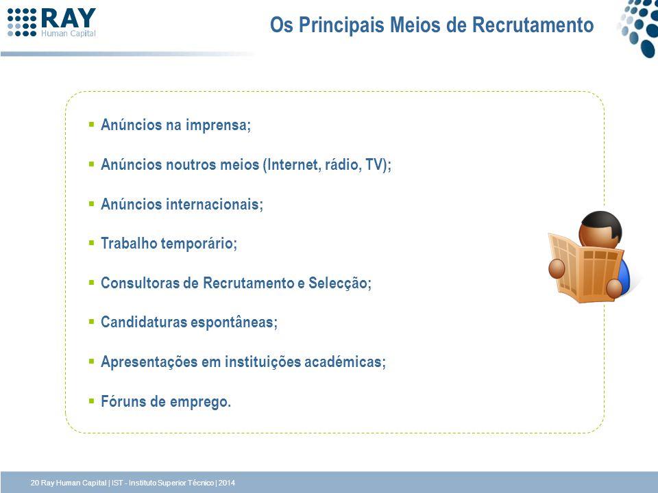 Os Principais Meios de Recrutamento Anúncios na imprensa; Anúncios noutros meios (Internet, rádio, TV); Anúncios internacionais; Trabalho temporário;