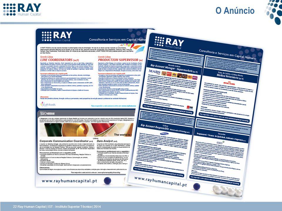 O Anúncio 22 Ray Human Capital | IST - Instituto Superior Técnico | 2014
