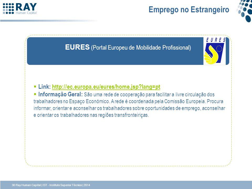 EURES (Portal Europeu de Mobilidade Profissional) Emprego no Estrangeiro Link: http://ec.europa.eu/eures/home.jsp?lang=pthttp://ec.europa.eu/eures/hom