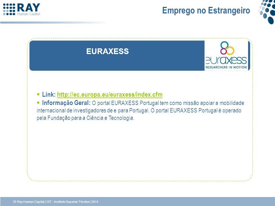 EURAXESS Emprego no Estrangeiro Link: http://ec.europa.eu/euraxess/index.cfmhttp://ec.europa.eu/euraxess/index.cfm Informação Geral: O portal EURAXESS
