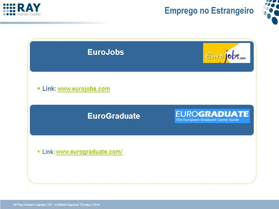 EuroGraduate EuroJobs Emprego no Estrangeiro Link: www.eurojobs.comwww.eurojobs.com Link: www.eurograduate.com/ www.eurograduate.com/ 34 Ray Human Cap