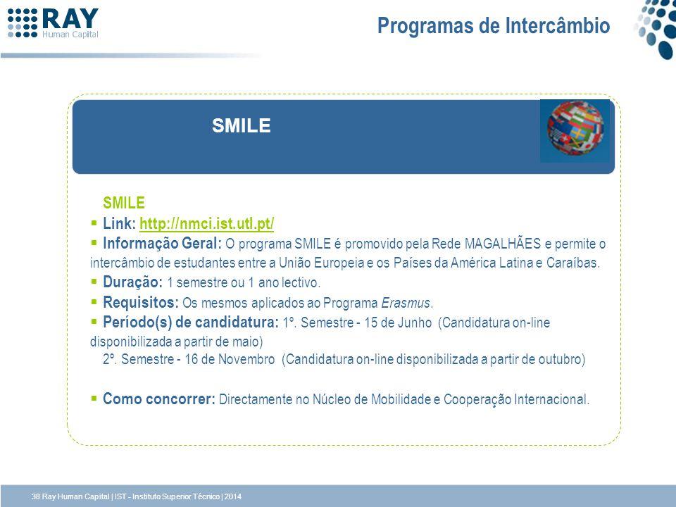 SMILE Link: http://nmci.ist.utl.pt/http://nmci.ist.utl.pt/ Informação Geral: O programa SMILE é promovido pela Rede MAGALHÃES e permite o intercâmbio
