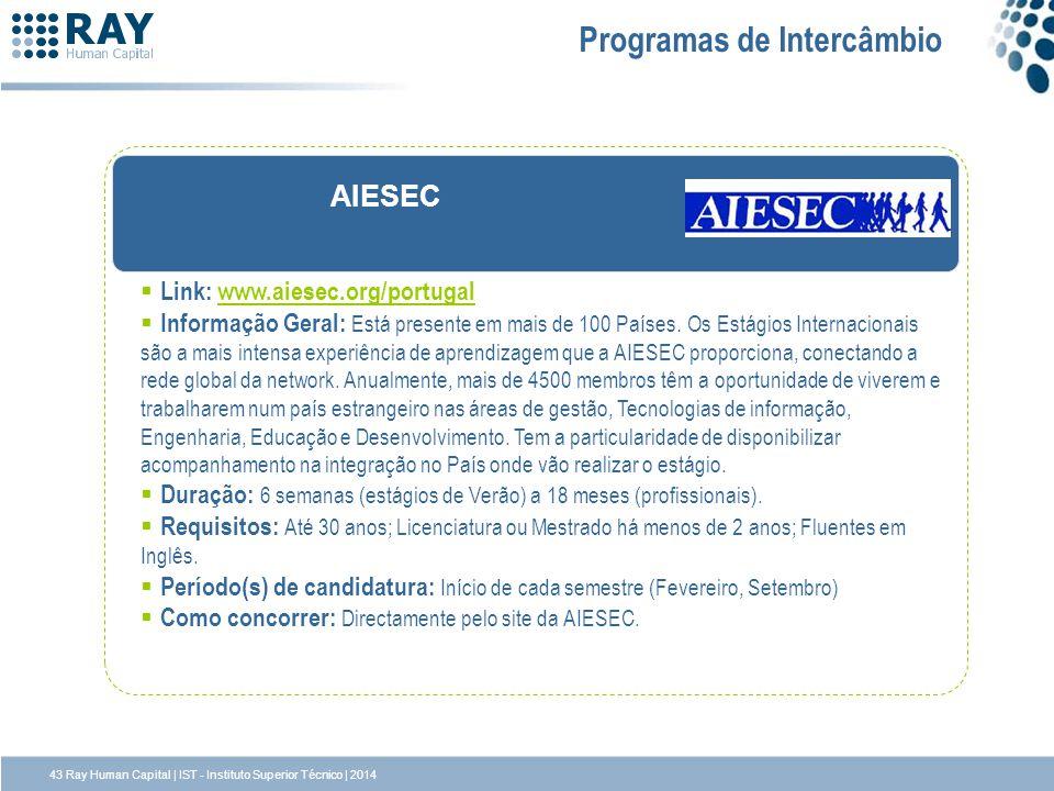 AIESEC Programas de Intercâmbio Link: www.aiesec.org/portugalwww.aiesec.org/portugal Informação Geral: Está presente em mais de 100 Países. Os Estágio