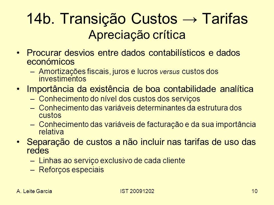 A. Leite GarciaIST 2009120210 14b. Transição Custos Tarifas Apreciação crítica Procurar desvios entre dados contabilísticos e dados económicos –Amorti