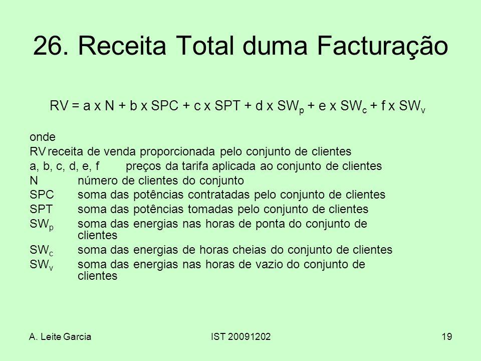 A. Leite GarciaIST 2009120219 26. Receita Total duma Facturação RV = a x N + b x SPC + c x SPT + d x SW p + e x SW c + f x SW v onde RVreceita de vend