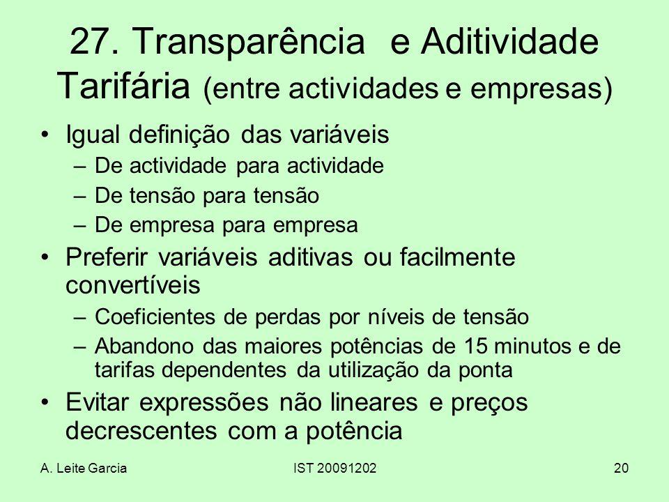 A. Leite GarciaIST 2009120220 27. Transparência e Aditividade Tarifária (entre actividades e empresas) Igual definição das variáveis –De actividade pa