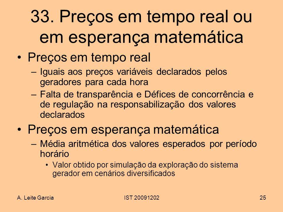 A. Leite GarciaIST 2009120225 33. Preços em tempo real ou em esperança matemática Preços em tempo real –Iguais aos preços variáveis declarados pelos g
