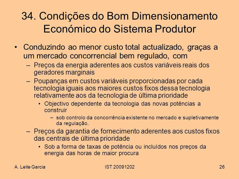 A. Leite GarciaIST 2009120226 34. Condições do Bom Dimensionamento Económico do Sistema Produtor Conduzindo ao menor custo total actualizado, graças a