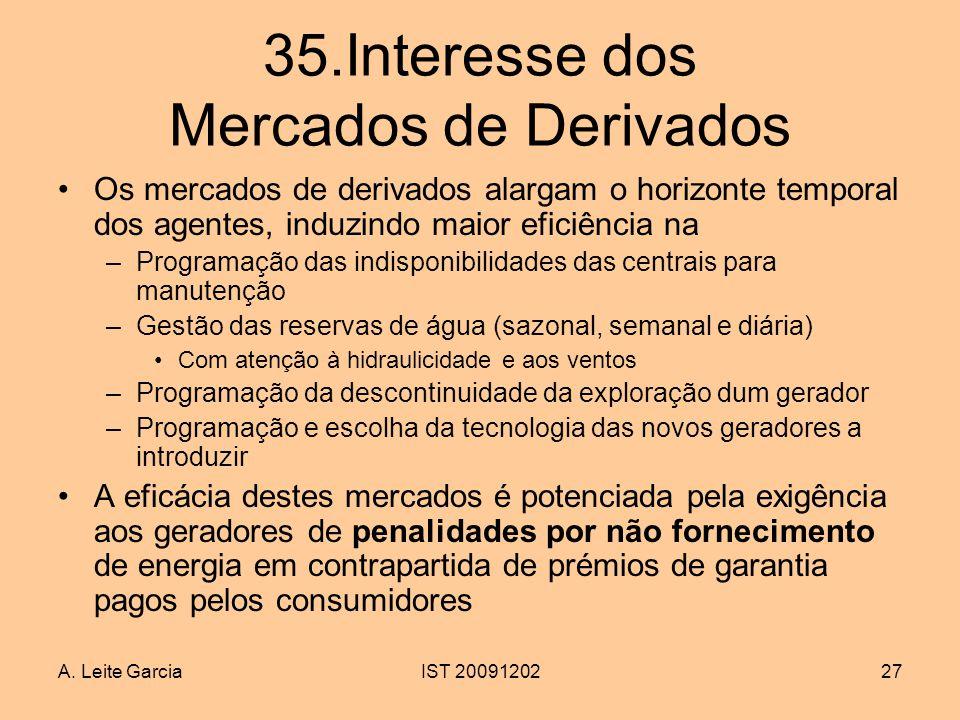 A. Leite GarciaIST 2009120227 35.Interesse dos Mercados de Derivados Os mercados de derivados alargam o horizonte temporal dos agentes, induzindo maio