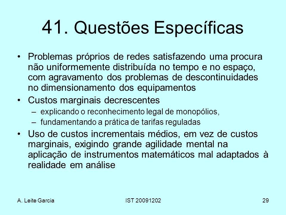 A. Leite GarciaIST 2009120229 41. Questões Específicas Problemas próprios de redes satisfazendo uma procura não uniformemente distribuída no tempo e n