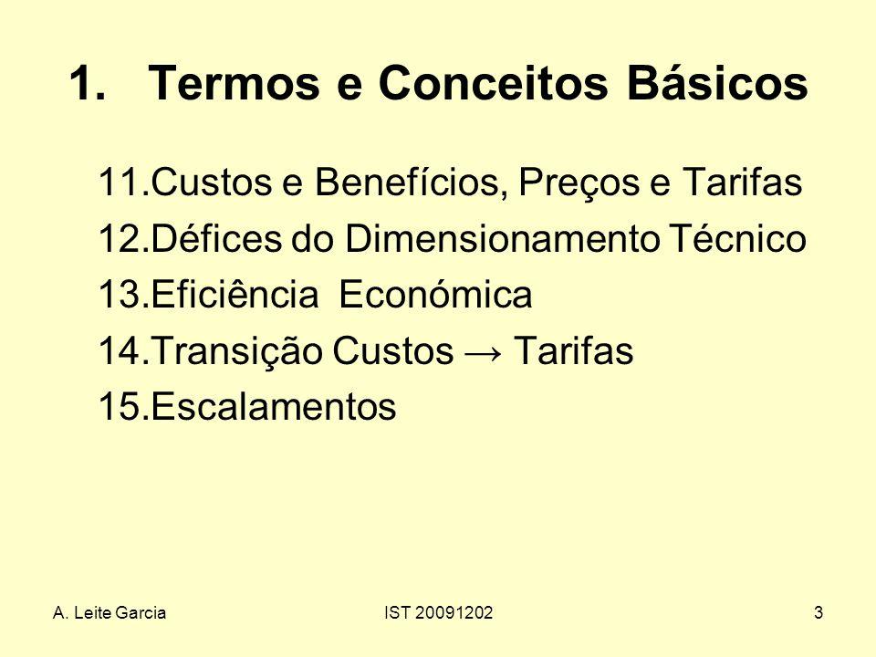 A. Leite GarciaIST 200912023 1.Termos e Conceitos Básicos 11.Custos e Benefícios, Preços e Tarifas 12.Défices do Dimensionamento Técnico 13.Eficiência