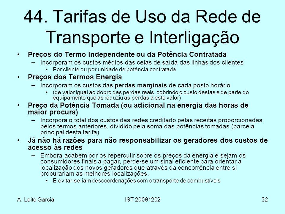 A. Leite GarciaIST 2009120232 44. Tarifas de Uso da Rede de Transporte e Interligação Preços do Termo Independente ou da Potência Contratada –Incorpor
