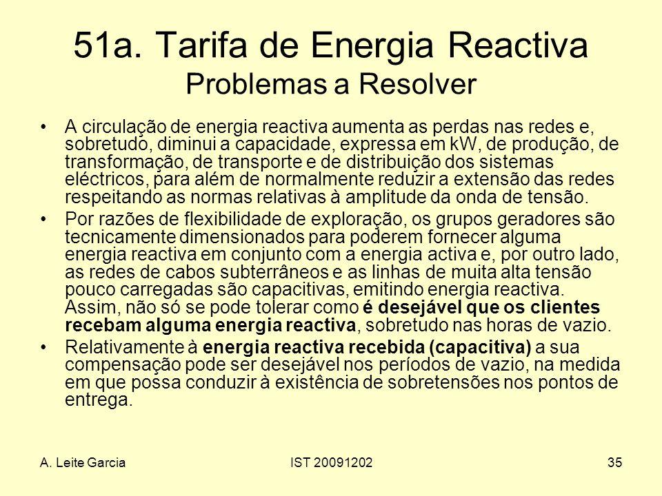 A. Leite GarciaIST 2009120235 51a. Tarifa de Energia Reactiva Problemas a Resolver A circulação de energia reactiva aumenta as perdas nas redes e, sob