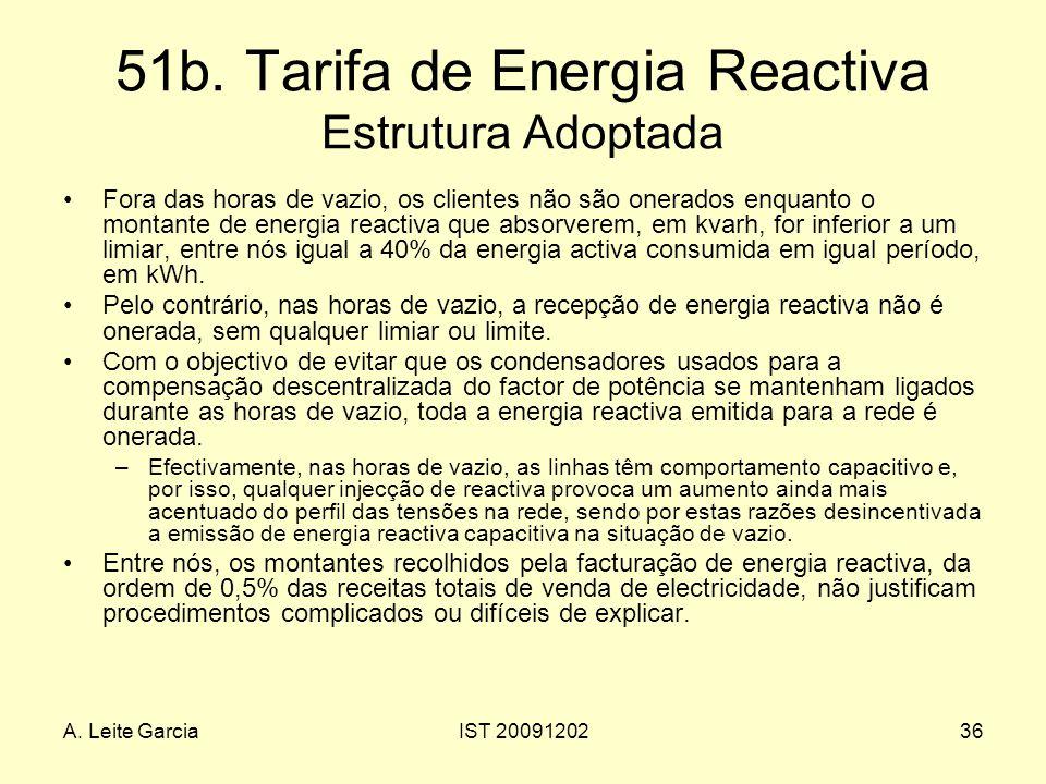 A. Leite GarciaIST 2009120236 51b. Tarifa de Energia Reactiva Estrutura Adoptada Fora das horas de vazio, os clientes não são onerados enquanto o mont