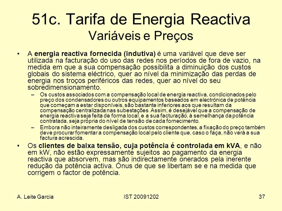 A. Leite GarciaIST 2009120237 51c. Tarifa de Energia Reactiva Variáveis e Preços A energia reactiva fornecida (indutiva) é uma variável que deve ser u