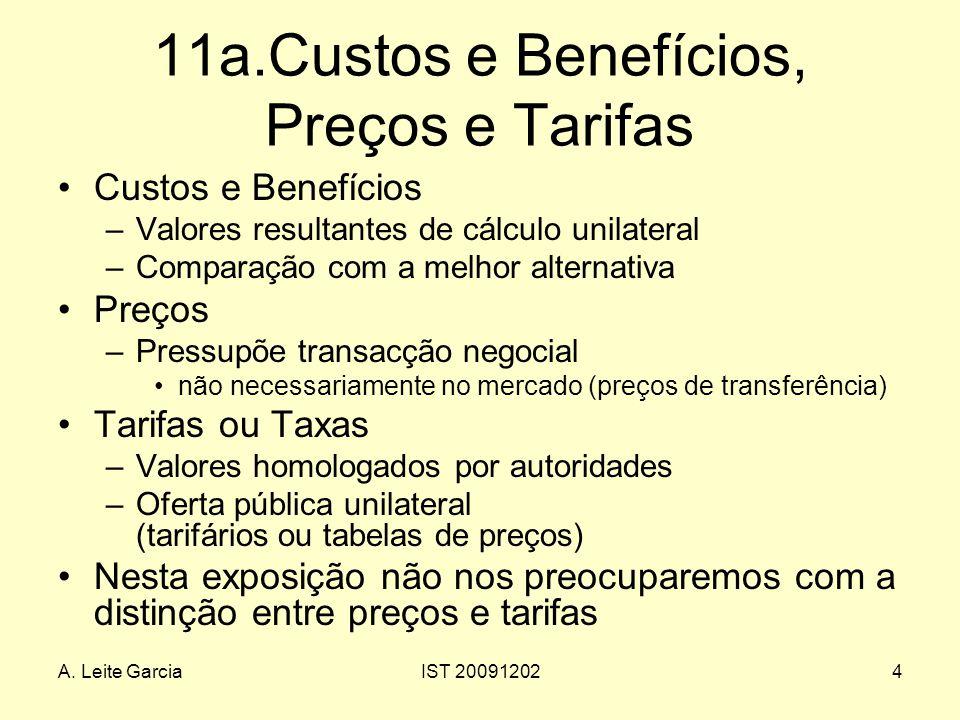 A. Leite GarciaIST 200912024 11a.Custos e Benefícios, Preços e Tarifas Custos e Benefícios –Valores resultantes de cálculo unilateral –Comparação com