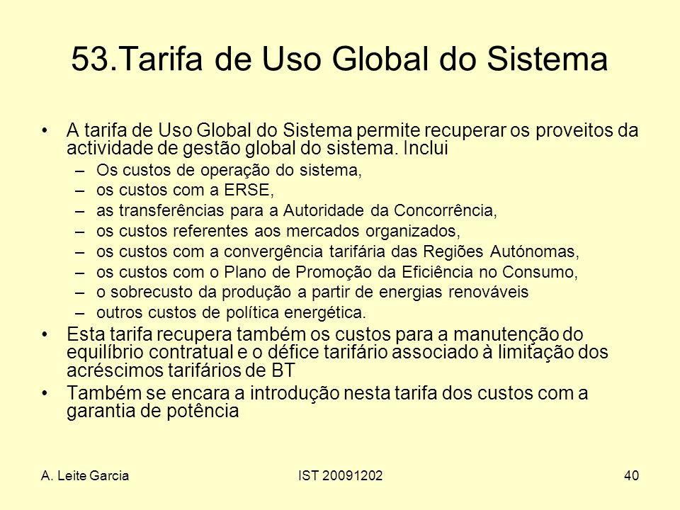 A. Leite GarciaIST 2009120240 53.Tarifa de Uso Global do Sistema A tarifa de Uso Global do Sistema permite recuperar os proveitos da actividade de ges