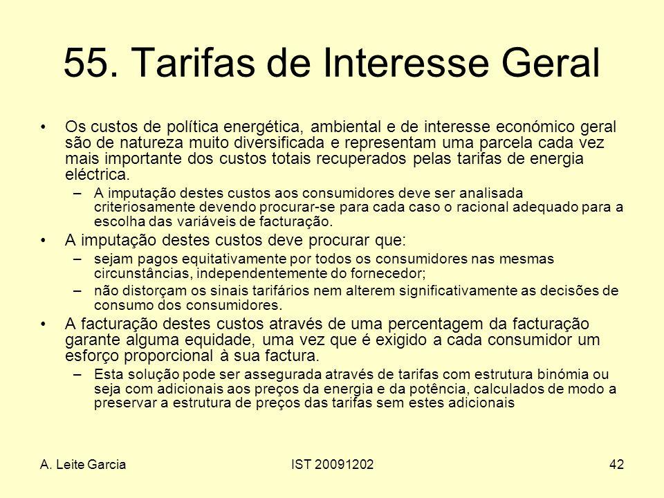 A. Leite GarciaIST 2009120242 55. Tarifas de Interesse Geral Os custos de política energética, ambiental e de interesse económico geral são de naturez