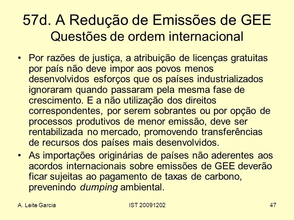 A. Leite GarciaIST 2009120247 57d. A Redução de Emissões de GEE Questões de ordem internacional Por razões de justiça, a atribuição de licenças gratui