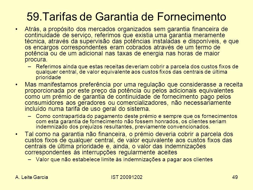 A. Leite GarciaIST 2009120249 59.Tarifas de Garantia de Fornecimento Atrás, a propósito dos mercados organizados sem garantia financeira de continuida