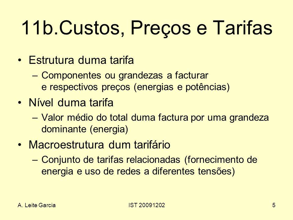 A. Leite GarciaIST 200912025 11b.Custos, Preços e Tarifas Estrutura duma tarifa –Componentes ou grandezas a facturar e respectivos preços (energias e