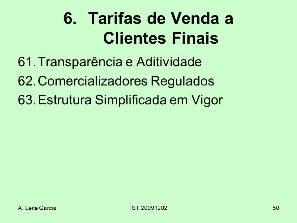 A. Leite GarciaIST 2009120250 6.Tarifas de Venda a Clientes Finais 61.Transparência e Aditividade 62.Comercializadores Regulados 63.Estrutura Simplifi