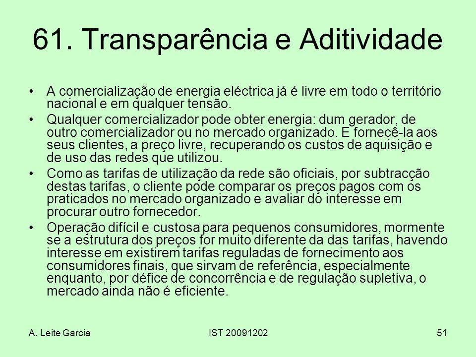 A. Leite GarciaIST 2009120251 61. Transparência e Aditividade A comercialização de energia eléctrica já é livre em todo o território nacional e em qua