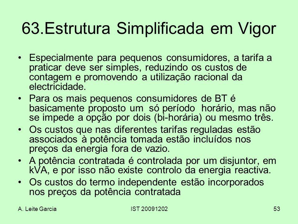 A. Leite GarciaIST 2009120253 63.Estrutura Simplificada em Vigor Especialmente para pequenos consumidores, a tarifa a praticar deve ser simples, reduz